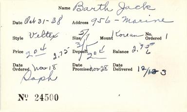 Index card for Jack Barth