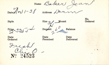 Index card for Joan Baker