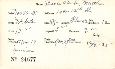 Index card for Martha Beverstock