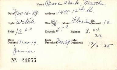 Index card for Martha Beverstock