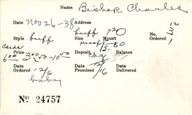 Index card for Charles Bishop