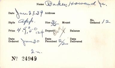 Index card for Howard Baker, Jr.