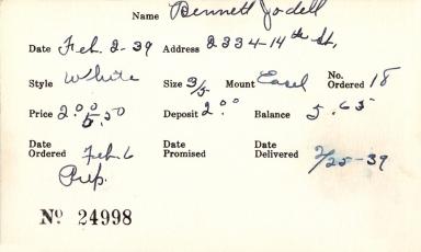 Index card for Jodell Bennett