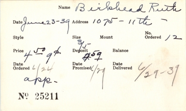 Index card for Ruth Birkhead