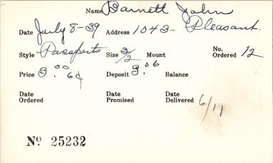 Index card for John Barnett