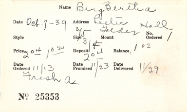 Index card for Bertha Berg