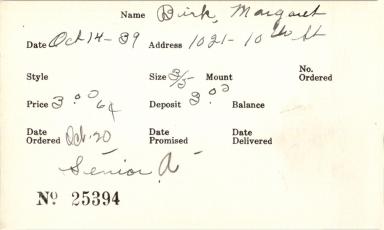 Index card for Margaret Birk