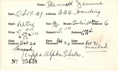 Index card for Jeanne Bennett
