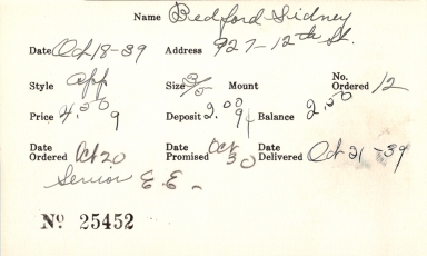 Index card for Sidney Bedford