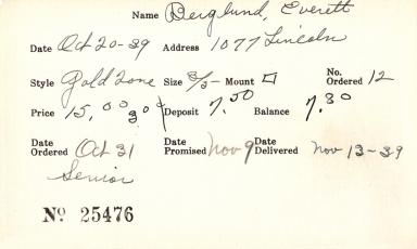 Index card for Everett Berglund