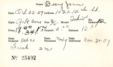 Index card for Jean Beery