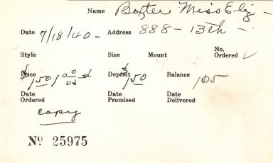 Index card for Elizabeth Baxter