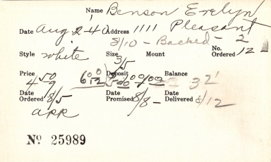 Index card for Evelyn Benson