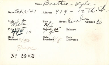 Index card for Lyle Beattie
