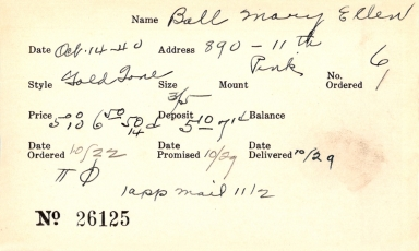 Index card for Mary Ellen Ball