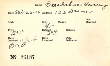 Index card for Harry Beerbohm