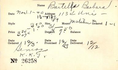 Index card for Barbara Bartels