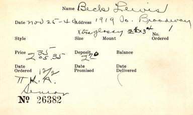 Index card for Lewis Becker