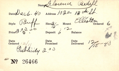 Index card for Florence Bedell