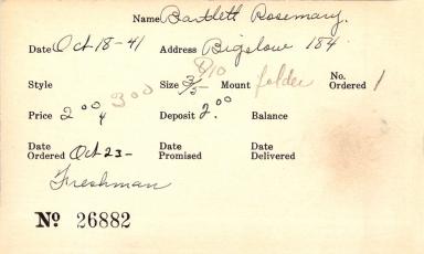 Index card for Rosemary Bartlett