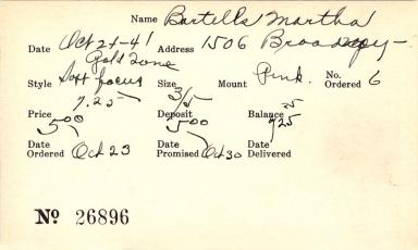 Index card for Martha Bartells