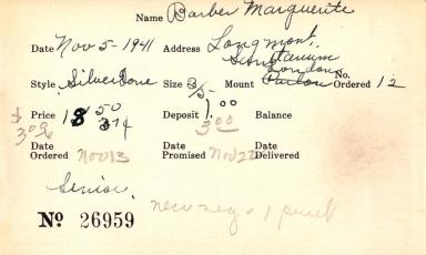 Index card for Marguerite Barber