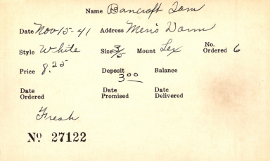 Index card for Tom Bancroft