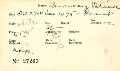 Index card for Patience Benivay