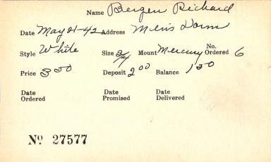 Index card for Richard Bergen