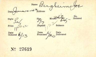 Index card for Joe Bergheim