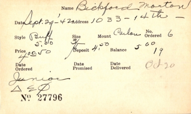 Index card for Morton Bickford