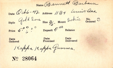 Index card for Barbara Bennett