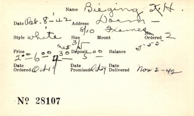 Index card for K. [?] H. Bieging