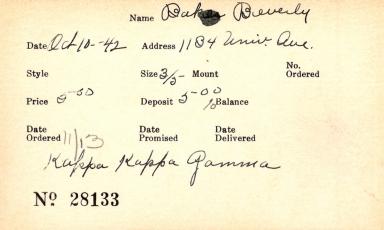 Index card for Beverly Baker