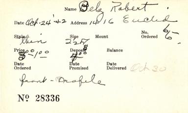 Index card for Robert Belz