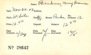 Index card for Mary Frances Benham