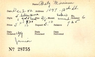 Index card for Miriam Betz