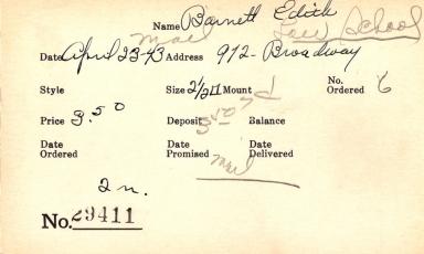 Index card for Edith Barnett
