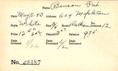 Index card for Pat Benson