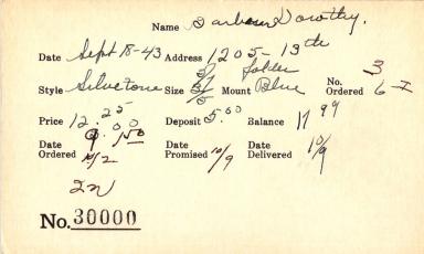 Index card for Dorothy Barbour