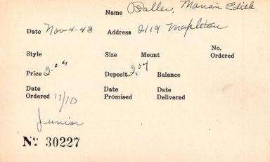 Index card for Marian Edith Baller