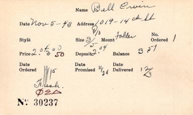 Index card for Ervin Bell