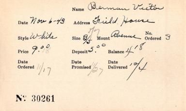 Index card for Victor Berman