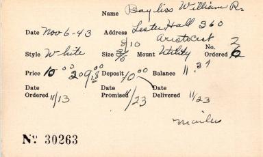 Index card for William R. Bayliss
