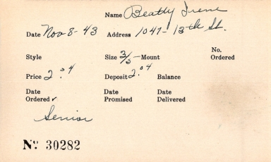 Index card for Irene Beatty
