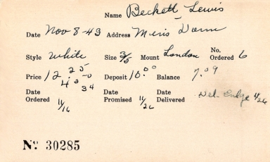 Index card for Lewis Beckett