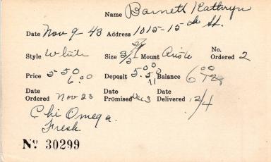 Index card for Kathryn Barnett