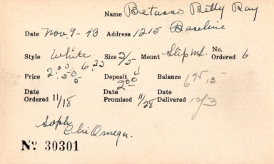 Index card for Betty Ray Betasso