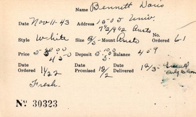Index card for Doris Bennett