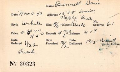 Index card for Doris Bennett